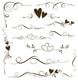Vector set of floral calligraphic elements, dividers and love ornaments for page decoration and frame design. Decorative heart silhouette for wedding cards and invitations.  - 192043651