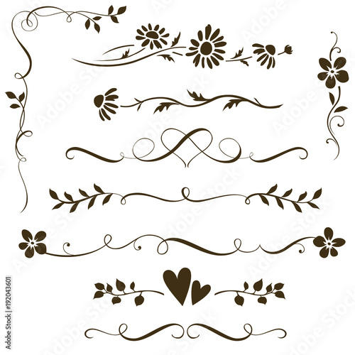 Set of calligraphic floral elements with hearts for wedding invitation design. Vector decorative ornament with flower silhouette. Dividers and frame elements - 192043601