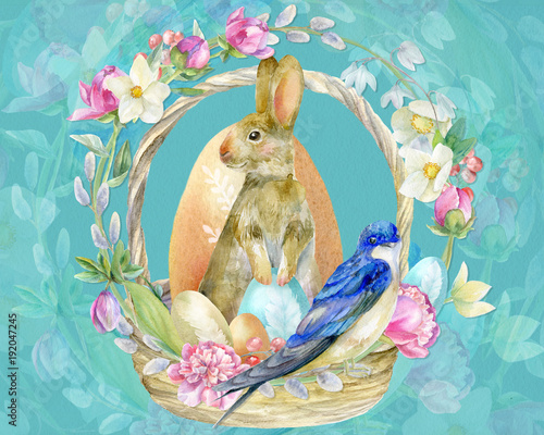 Easter illustration with rabbit - 192047245