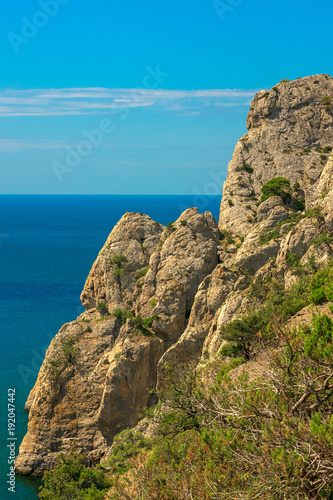 Fotobehang Blauw Beautiful summer sea landscape at the resort in the Crimea