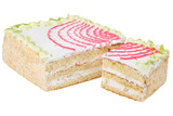 Fruit creamy cake isolated on white background - 192048644