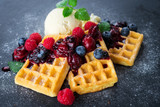 Waffles with ice cream and hot fruits sauce - 192054457