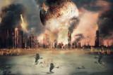 Burnt planet / Planet landscape and burnt city, judgement day. Digital retouch. - 192055875