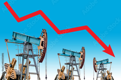 Oil price crisis. Oil price fall graph illustration.