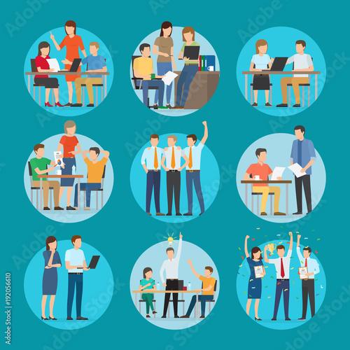 Start Up Set Poster at Work Vector Illustration