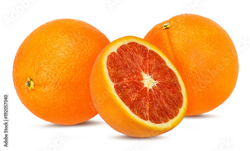 Juicy red orange isolated on white background with clipping path