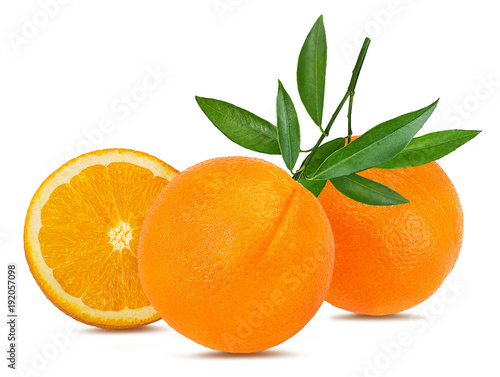 Juicy orange with leafs isolated on white background with clipping path