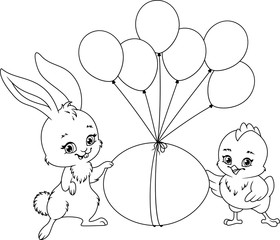 Easter Illustration Coloring Page