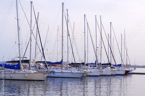 Fotobehang Zeilen Mooring of Sailboats
