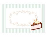 Vintage greeting card template. Filigree frame on stripped retro background. For birthday, wedding invitation, bakery design. - 192063250
