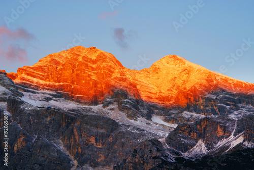 Fotobehang Diepbruine Sunrise light over Tofana di Rozes (3225m) in the Dolomites, Italy, Europe