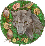Colorful floristic image . wolf and birds - 192070042
