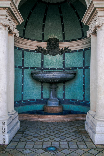 Close up of the fountain at the Budapest Castle Bazaar and The Royal Gardens: a new attraction At the Foot of Castle Hill