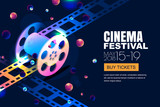 Vector glowing neon cinema festival banner. Film reel in 3d isometric style on abstract night cosmic sky background. Design template with copy space for movie poster, sale cinema theatre tickets. - 192075608