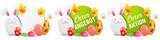 Ostern Aktion Angebot Buttons Set mit Osterhase und bemalten Ostereiern - 192075619