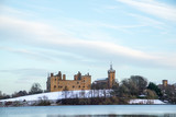 Linlithgow Palace and Loch in winter with snow; the birthplace of Mary, Queen of Scots; situated by Linlithgow Peel, West Lothian, Scotland. - 192079012