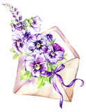 Watercolor illustration. Ancient envelope with a bouquet of pansies and a bow Antique objects. Spring collection in violet shades. ClipArt, DIY, scrapbooking elements. - 192079604