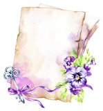 Watercolor illustration. A pile of old papers with a ribbon, pansy, leaves and key. Antique objects. Spring collection in violet shades. ClipArt, DIY, scrapbooking elements. - 192079612