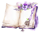 Watercolor illustration. Opened old book with a ribbon, pansy, leaves and key. Antique objects. Spring collection in violet shades. ClipArt, DIY, scrapbooking elements. - 192079624