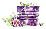 Watercolor illustration. A pile of old books with a bow, figs, leaves and berries. Antique objects. Spring collection in violet shades. ClipArt, DIY, scrapbooking elements. - 192079635