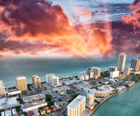 Helicopter view of Miami Beach at dusk, Florida - USA