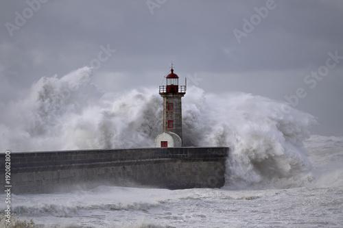 Lighthouse under storm - 192082800