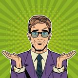 Cool Businessman pop art cartoon vector illustration graphic design suit and elegance style vibrant colors - 192087674