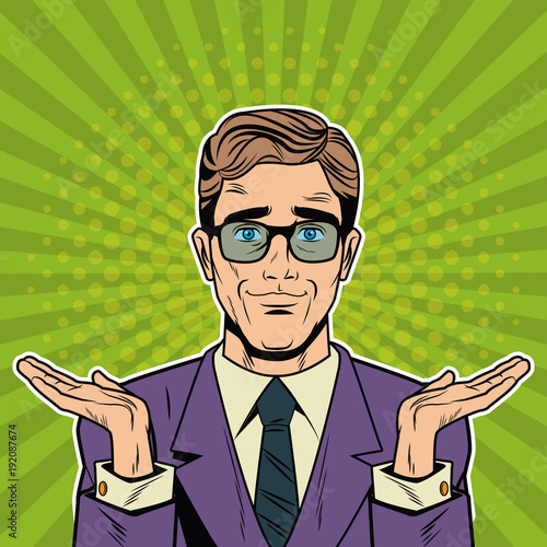 Cool Businessman pop art cartoon vector illustration graphic design suit and elegance style vibrant colors