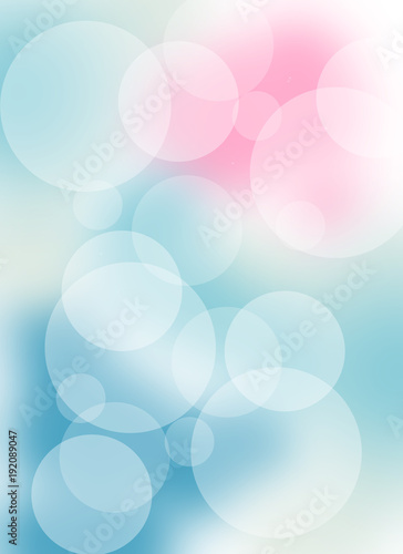 Beautiful blurred background with bokeh lights in blue, white and pink