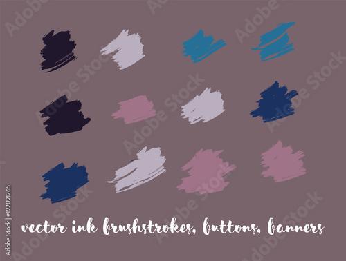 Fotobehang Graffiti Grunge Vector Paint Buttons Set. Modern Splats, Ink Banners, Hand Painted Smears. Hipster Graffiti Ads Backgrounds, Vintage Textured Doodles. Cool Smeared Borders, Vector Gouache Buttons Set.