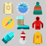 Icons set about Winter with boot, thermometer, sweater, snowman, winter hat and gloves - 192092065