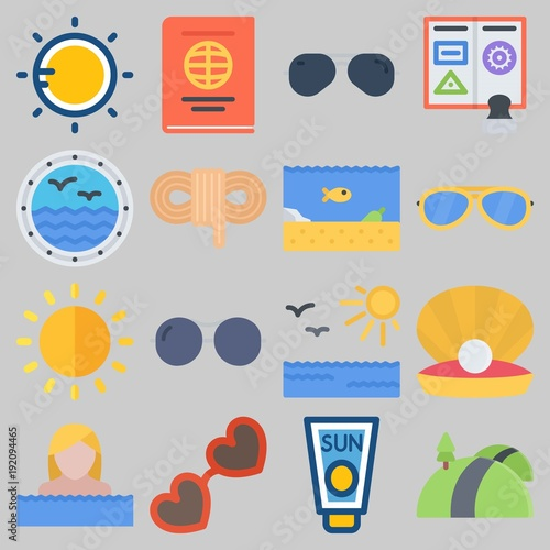 Icon set about Beach And Camping with keywords passport, road, rope, window, pearl and sea life