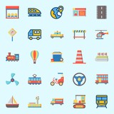 Icons set about Transportation with location, propeller, double decker, taxi, tram and hot air balloon - 192094682