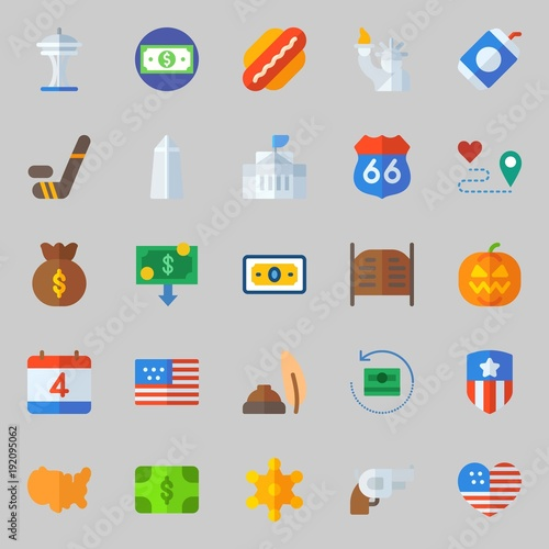 icons set about United States. with united states, money bag, statue of liberty, sheriff, hockey and usa