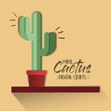 paper cactus digital craft vector illustration design - 192095275