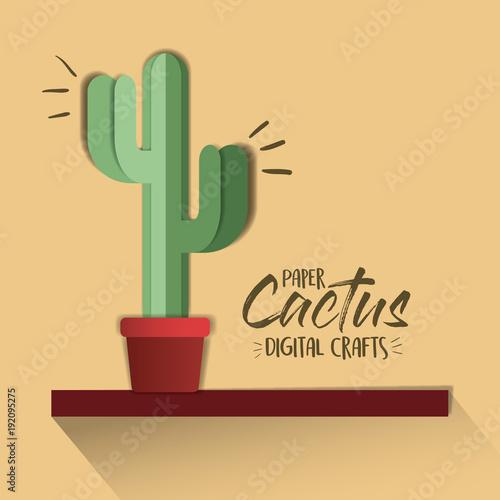 paper cactus digital craft vector illustration design