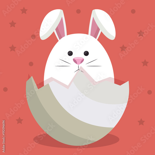Staande foto Beige cute rabbit in egg vector illustration design