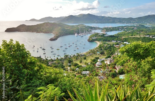Foto op Canvas Bleke violet View of the Caribbean island of Antigua and English Harbour seen from the Shirley Heights Lookout