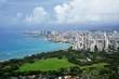 ハワイ ダイヤモンドヘッドから見たワイキキビーチとホテルのビル群