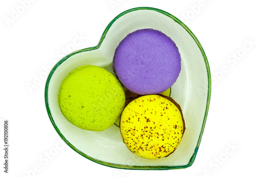 Aluminium Macarons melon, green tea, and bleuberry flavoured macaroons