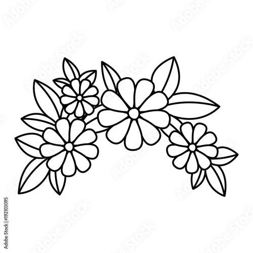 cute floral crown decoration icon vector illustration design - 192103095