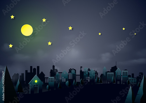 Night scene urban and cityscape landscape with house,stars and moon background.Paper art of ecology and environment conservation creative idea concept design.Vector illustration. © manasthep65