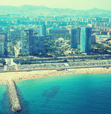 View of Barcelona from  the helicopter