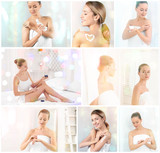Collage with young women applying body cream onto skin - 192114053