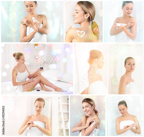 Collage with young women applying body cream onto skin