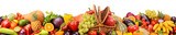 Collection fresh fruits and vegetables isolated on white background. Panoramic collage. Wide photo.
