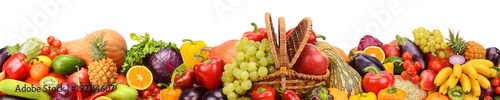 Fotobehang Verse groenten Collection fresh fruits and vegetables isolated on white background. Panoramic collage. Wide photo.