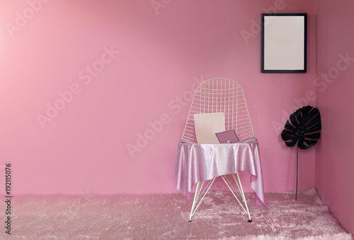 pink theme decoration living room in lady concept