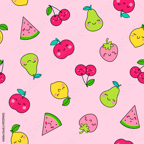Seamless pattern of cute fruit illustration with pink background