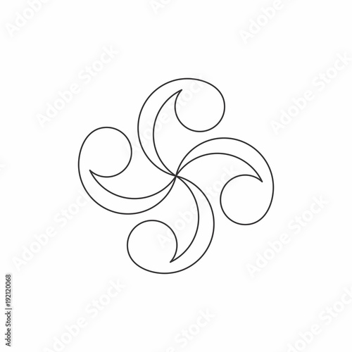 abstract floral line art ornament vector